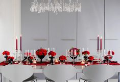 Modern Red and Black Tablescape - Image Credit Brooklyn Bride I love the red tapers and red table cloth.