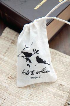 Cute screen printed fabric mini pouch for your wedding souvenir (spring birds)