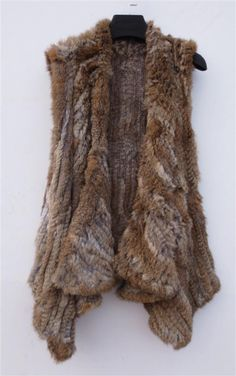129.00$  Watch here - http://vielf.justgood.pw/vig/item.php?t=vd8q2d719172 - Nature Brown Crochet Rabbit Fur Vest Crochet Fur Vest Autumn Gilet Fur Coat 60cm