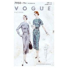 50s Vogue dress sewing patterns 7950, Bust 34 inches - kimono sleeves.  One Piece Dress: Slim skirt with side front short inverted pleats joins the