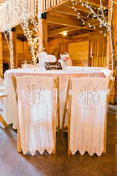 """Wedding Chair Swag Decorations - A vintage interpretation of the """"Mr and Mrs"""" chair wedding decor."""