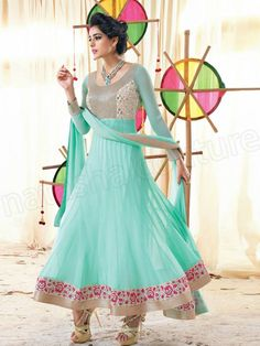 Gorgeous #Anarkali in light turquoise / celeste from a 2014 collection