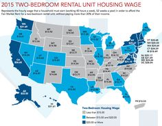 Map showing how much per hour a minimum wage worker would need to earn to afford a two-bedroom rental unit