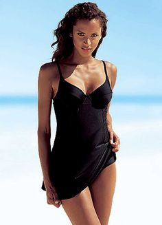 54380d38c8 LASCANA Black Underwired Swimdress Stylish Girl, Black Swimsuit, One Piece  Swimsuit, Baden,