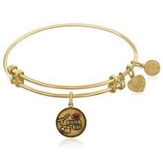 Expandable Yellow Tone Brass Bangle with I Love Rock and Roll Enamel Symbol