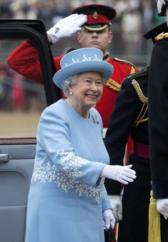 Queen Elizabeth II arrives at Horse Guards Parade where she presented the Household Cavalry with new standards, on May 28, in 2014 in London...
