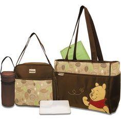 5 in 1 Brown Green Disney Winnie the Pooh Diaper Bag Tote by Disney Cute Diaper Bags, Girl Diaper Bag, Best Diaper Bag, Winnie The Pooh Nursery, Disney Winnie The Pooh, Baby Disney, Disney Baby Clothes, Cute Baby Clothes, Baby Boy Newborn