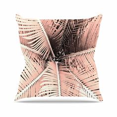 KESS InHouse SC2196AOP03 18 x 18-Inch 'Suzanne Carter Palm-Peach Pink Black' Outdoor Throw Cushion - Multi-Colour