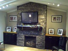 ledger stone fireplace images | ledgerstone | home - family room