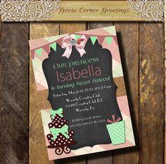 Argyle Sweet 16 Birthday invitation 1st 2nd 3rd 4th 5th Cake Pink Mint Burlap Chalkboard Baby Shower Bridal
