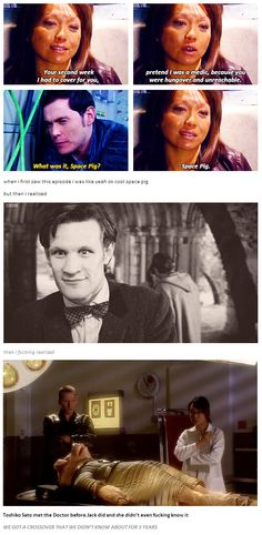 Timey-wimey crossover...Mind. Blown. <<< I didn't even realize this until the second time I watched season one! I love that they crossover sometimes, just a tiny bit, to remind us that the worlds ARE connected! :)