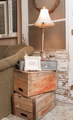 Vintage Crates as side tables-spare bedroom side table