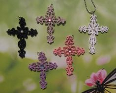 Quilled Paper Cross Pendants
