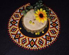 Collier Bijoux Collier-Collier Orange blanc jaune noir Ukraine collier de perles