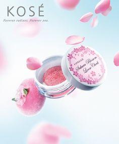 [限量] KOSE 丰靡美姬‧幻粧 櫻花限定頰彩。宛如櫻花瓣般的溫柔色澤 | ::.UrCosme.:: 美妝新聞頻道 | KOSE 高絲-專櫃的美妝新聞 | 2014年03月11日 Visual Advertising, Creative Advertising, Advertising Design, Bottle Drawing, Beauty Ad, Cosmetic Design, Pose, Cosmetic Packaging, Cute Makeup