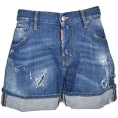 dsquared2 Wide Denim Shorts (6,460 MXN) ❤ liked on Polyvore featuring shorts, blue, jean shorts, blue denim shorts, blue shorts, short jean shorts and denim short shorts