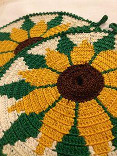 60s swedish vingage pot holders. Crochet. Nice colours, Sunflowers