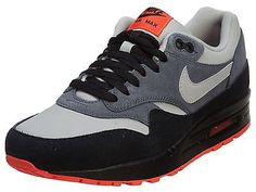 Nike Air Max 1 Leather Mens 654466-004 Grey Black Athletic Running Shoes Sz 8