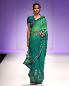 #Exclusivelyin, Emerald Green Ombre Sari With Sequin Peacock Feathers