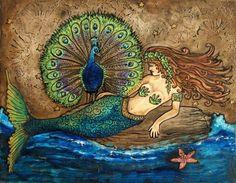 Mermaid and Peacock  by Karen Kearney