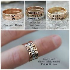Hand Stamped Stacking Rings - Mothers rings, Name Rings, Personalized Gold, silver, pink gold rings - kids name rings - organic rings -