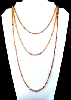 LONG Rose Gold Tone 1980s Necklace