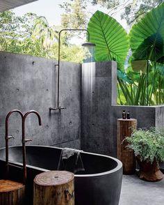 "INTERIOR DESIIGN on Instagram: ""Great bathroom design ...... Your thoughts ? . . . . follow us for more !!"" Indoor Outdoor Bathroom, Outdoor Baths, Outdoor Showers, Sri Lanka, Vogue Living, Dark Interiors, Resort Style, Open Plan Living, Pool Designs"