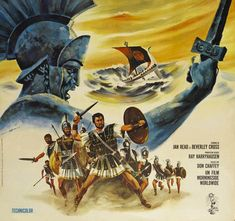 Details from the poster for the 1963 film, Jason and the Argonauts, which features creatures from stop-motion animation legend Ray Harryhaus...