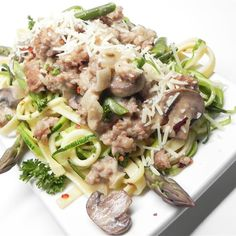 """Fettuccine and Zoodles Topped with Chicken Sausage, Asparagus, and MushroomsI """"There were a lot of steps to this but it turned out great."""""""