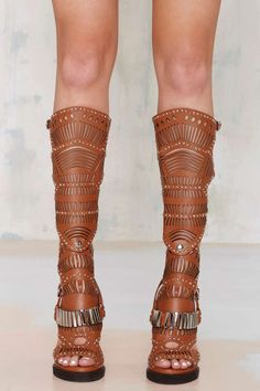 Jeffrey Campbell Bellona Leather Knee-High Sandal - Shoes | Heels | Shoes | All | Jeffrey Campbell