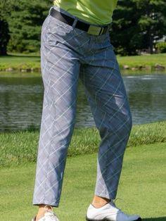 "JoFit Ladies 28"" Inseam Playoff Golf Pants - Key West (Glen Plaid)"