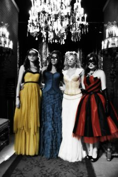 Masquerade ball dresses. I like the red and black one