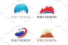 4 Fort Worth Logo - City Skyline Templates **Fort Worth Logo - City Skyline Cityscape**This design is suitable for companies / product in the by jongcreative