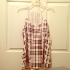 NWT Barcelona Tank White black and maroon plaid pattern. Never worn. Tags still attached. Express Tops Tank Tops