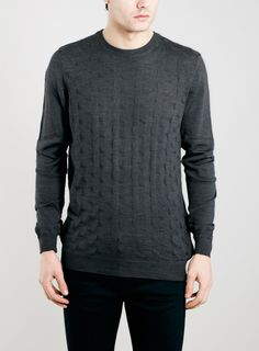 Photo 1 of CHARCOAL MERINO BLEND TRIANGLE TEXTURED CREW NECK SWEATER