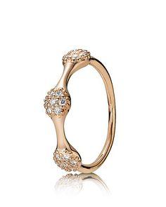 PANDORA Ring - Diamond Pavé & 18K Rose Gold Triple Pod, .21 ct. t.w. | Bloomingdale's