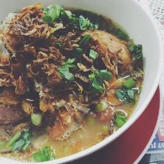 """Came home to this; Sup Bol Kentang. Basically it's a massive """"bagedil"""" in a beefy soup with green peas and chopped tomatoes. We usually have this for Ramadan. It was my late dad's favourite. My sister and BIL loves it  too.  Well it's been a testing day after all. So Selamat berbuka to me. Bismillah! Siapa nak share?  #IAsDayOut"""