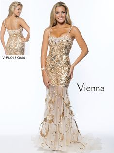 Shine the night away in this gorgeous Vienna prom dress and look stunning. This Vienna prom dress FL048 has beaded spaghetti straps, sparkly beading along the neckline, and a fitted bodice adorned with gold beading in a swirled design. A sheer fit and flare skirt with a train completes this Vienna prom dress. Wear this sophisticated Vienna prom dress for a look to be remembered for your special day.