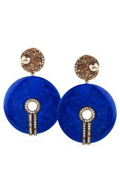 Lapis & Diamond Disc Earrings by Bochic - Moda Operandi