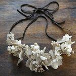 再販 necklace【 布花ネックレス * hydrangea , camomilet & eucalyptus 】