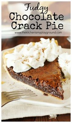 Chocolate Crack Pie ~ amazingly-rich-and-fudgy, addictively delicious, scratch-made gooey brownie ... in a crust! www.thekitchenismyplayground.com