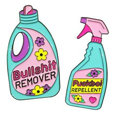 Spring Cleaning Pins - Bullshit Remover pin and Fuckboi Repellent from Candy Doll Club Snapchat Stickers, Jacket Pins, Cool Pins, Pin And Patches, Aesthetic Stickers, Pin Badges, Spring Cleaning, Cute Stickers, Preppy Stickers
