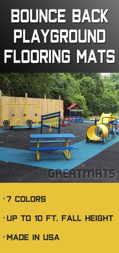 Bounce Back Rubber Playground Flooring are fall height rated up to 10 feet based on the thickness of the tile. Playground Tiles make a great surface because they are flat to reduce tripping and doesn't need to be continuously refilled like mulch does. Playground Mats, Backyard Playground, Playground Ideas, Outdoor Toys, Outdoor Fun, Outdoor Flooring, Outdoor Playground Flooring, Things That Bounce, Youtube