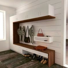 A modern take on the traditional mudroom lockers design featuring a walnut bench that wraps up a tall storage cabinet and frames in the hanging space. Painted white shiplap walls give a perfect backdr Mudroom Storage Bench, Entryway Storage, Ikea Storage, Bench With Storage, Storage Cabinets, Tall Cabinet Storage, Garage Storage, Storage Organization, Entryway Ideas
