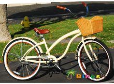 Fashionista Custom Deluxe 26″ Women's Beach Cruiser Bicycle Vanilla 15.5″ Steel Frame – Coaster Brake Velo Brown Leather Stitching Cruiser Grips Extra-Padded Custom Floral Brown Cruiser Seat