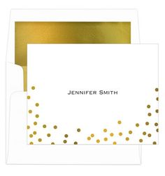 White Confetti Gold Foil Dots Foldover Note Cards with Lined Envelopes