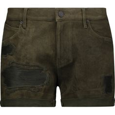 RtA Olivia distressed suede shorts ($240) ❤ liked on Polyvore featuring shorts, army green, ripped shorts, army green shorts, mid rise shorts, slim shorts and olive green shorts