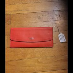 Authentic leather Coach wallet This cute slim Coach wallet speaks for it's self. Great in any purse or bag Coach Bags Wallets