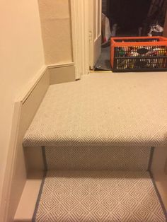 Grey Herringbone Carpet Installation To Stairs And Areas