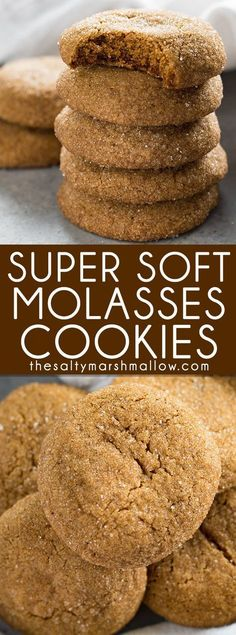Old Fashioned Soft Molasses Cookies -will veganize with a flax egg! These molasses cookies are an old fashioned holiday favorite! Super soft and packed with the amazing, rich flavors of molasses, ginger, and cinnamon. Just like Grandma used to make! Cookie Desserts, Just Desserts, Delicious Desserts, Dessert Recipes, Yummy Food, Healthy Food, Baking Cookies, Bar Recipes, Oven Recipes